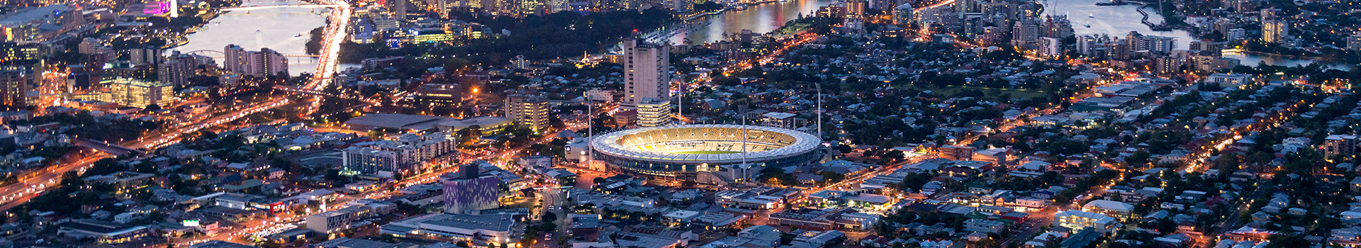 The Gabba under Brisbane City lights